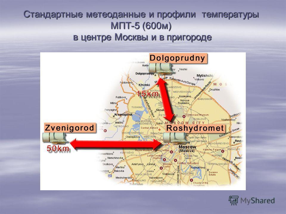 Стандартные метеоданные и профили температуры МПТ-5 (600 м) в центре Москвы и в пригороде