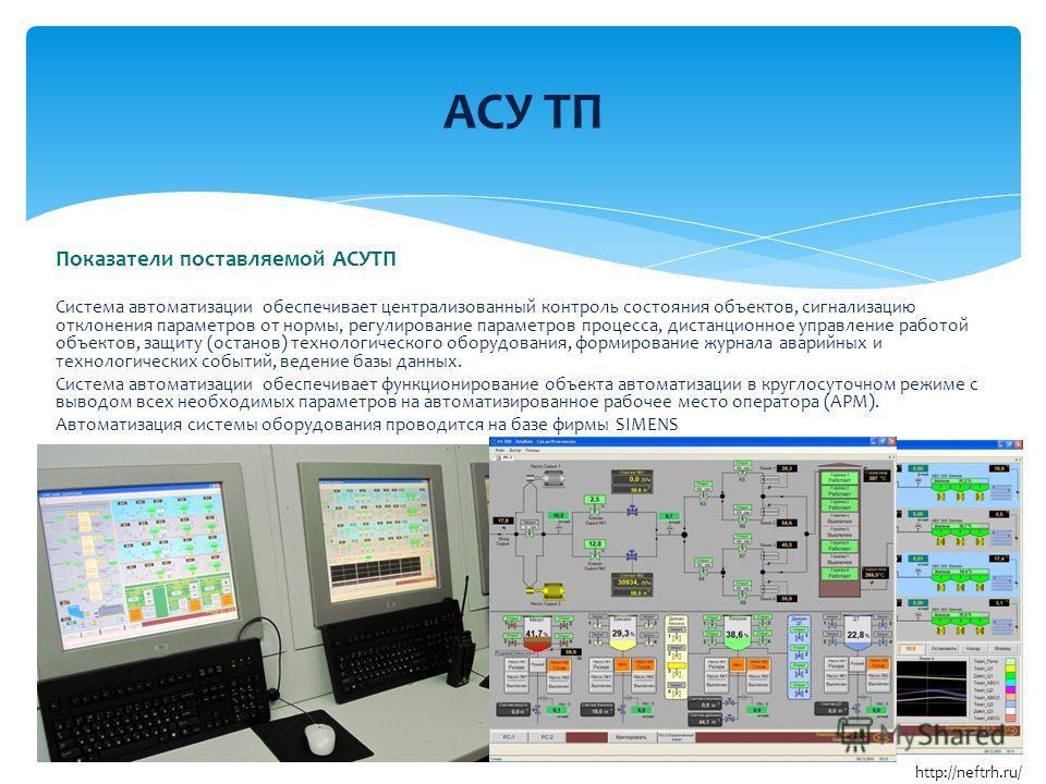 Показатели поставляемой АСУТП Система автоматизации обеспечивает централизованный контроль состояния объектов, сигнализацию отклонения параметров от нормы, регулирование параметров процесса, дистанционное управление работой объектов, защиту (останов)