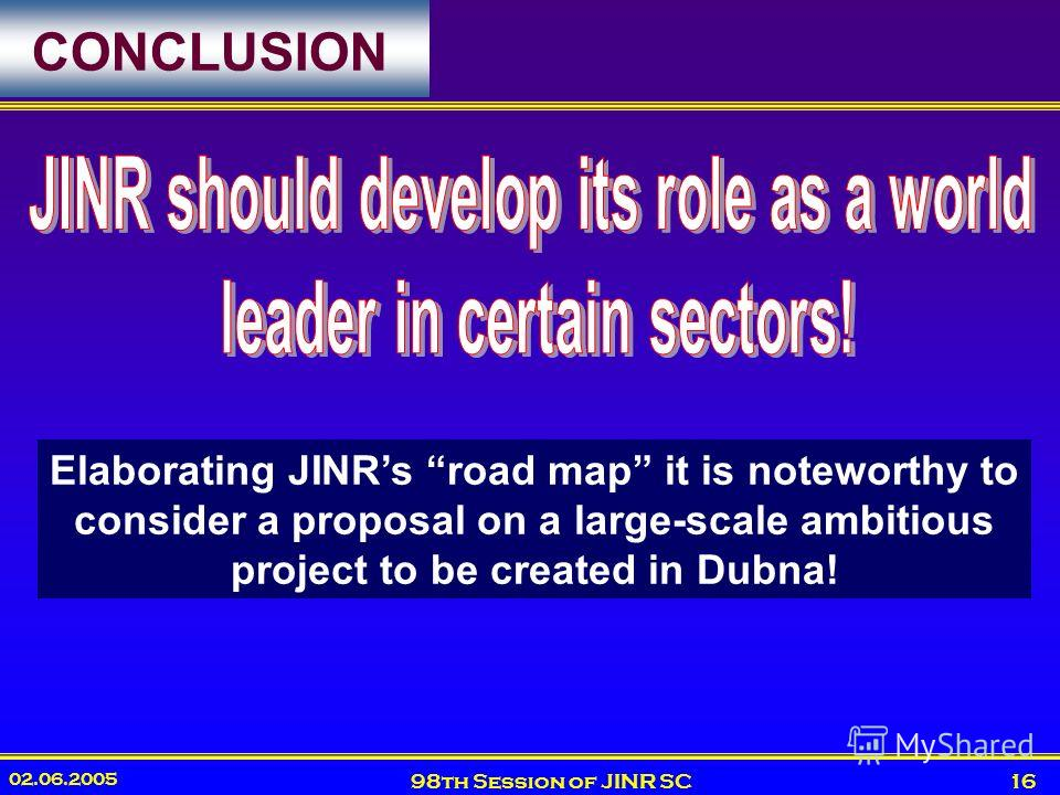 02.06.2005 98th Session of JINR SC16 CONCLUSION Elaborating JINRs road map it is noteworthy to consider a proposal on a large-scale ambitious project to be created in Dubna!