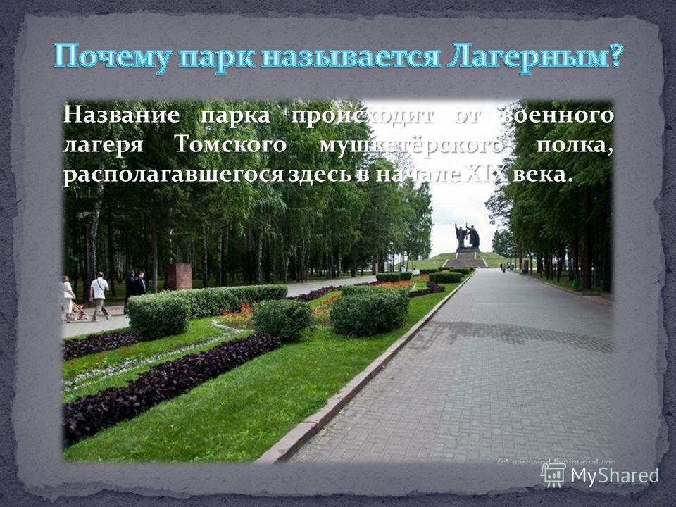 Название парка происходит от военного лагеря Томского мушкетёрского полка, располагавшегося здесь в начале XIX века.