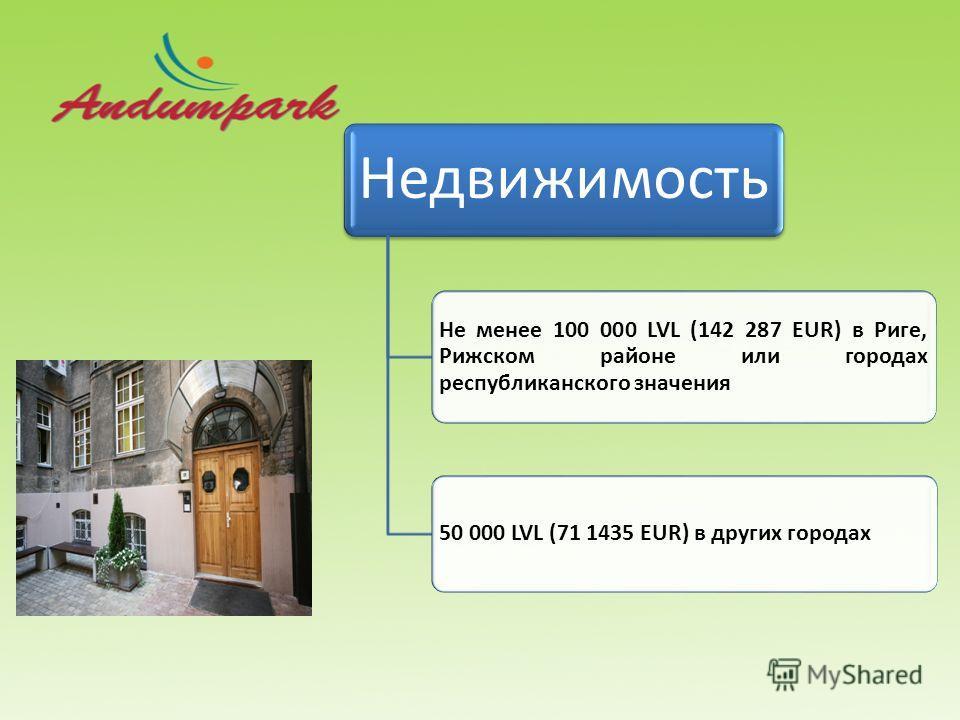Недвижимость Не менее 100 000 LVL (142 287 EUR) в Риге, Рижском районе или городах республиканского значения 50 000 LVL (71 1435 EUR) в других городах