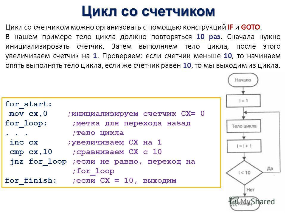 Цикл со счетчиком Цикл со счетчиком можно организовать с помощью конструкций IF и GOTO. В нашем примере тело цикла должно повторяться 10 раз. Сначала нужно инициализировать счетчик. Затем выполняем тело цикла, после этого увеличиваем счетчик на 1. Пр