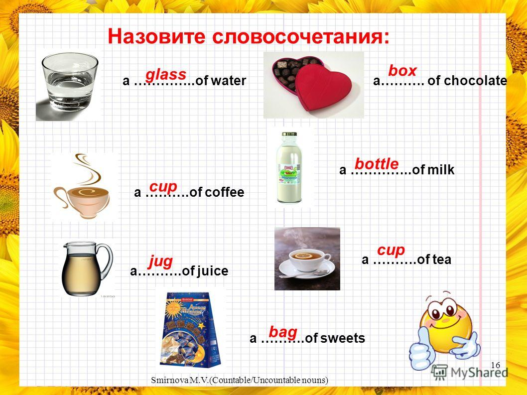 Write how many you can see in the pictures. three cups of coffee two boys four cans of Coke two flowers three oranges a bar of chocolate a glass of watertwo bottles of milk a box of chocolates 15 Smirnova M.V.(Countable/Uncountable nouns)