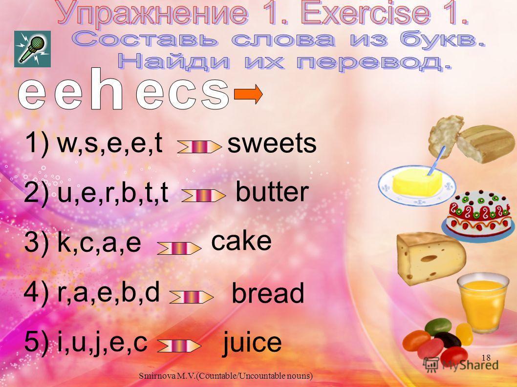 Переведите на английский язык : Чашка чая - Коробка конфет - Стакан молока - Пакет конфет - Бутылка сока - Кусок торта - a cup of tea a box of chocolate a glass of milk a bag of sweets a bottle of juice a piece of cake 17 Smirnova M.V.(Countable/Unco