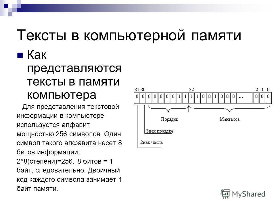 Тексты в компьютерной памяти Как представляются тексты в памяти компьютера Для представления текстовой информации в компьютере используется алфавит мощностью 256 символов. Один символ такого алфавита несет 8 битов информации: 2^8(степени)=256. 8 бито