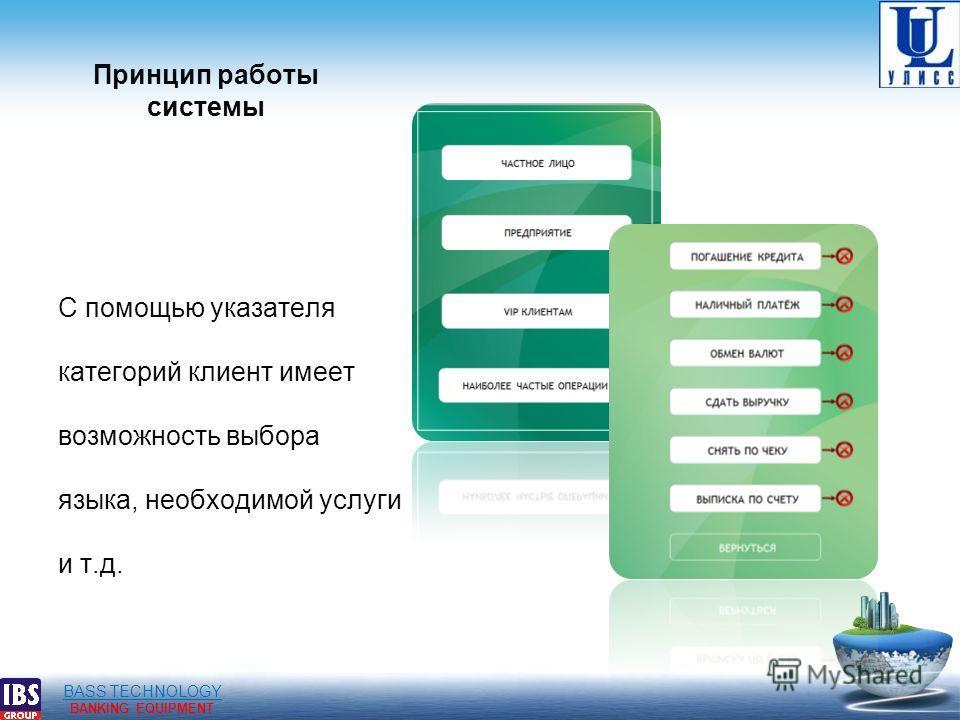 BASS TECHNOLOGY BANKING EQUIPMENT Принцип работы системы С помощью указателя категорий клиент имеет возможность выбора языка, необходимой услуги и т.д.
