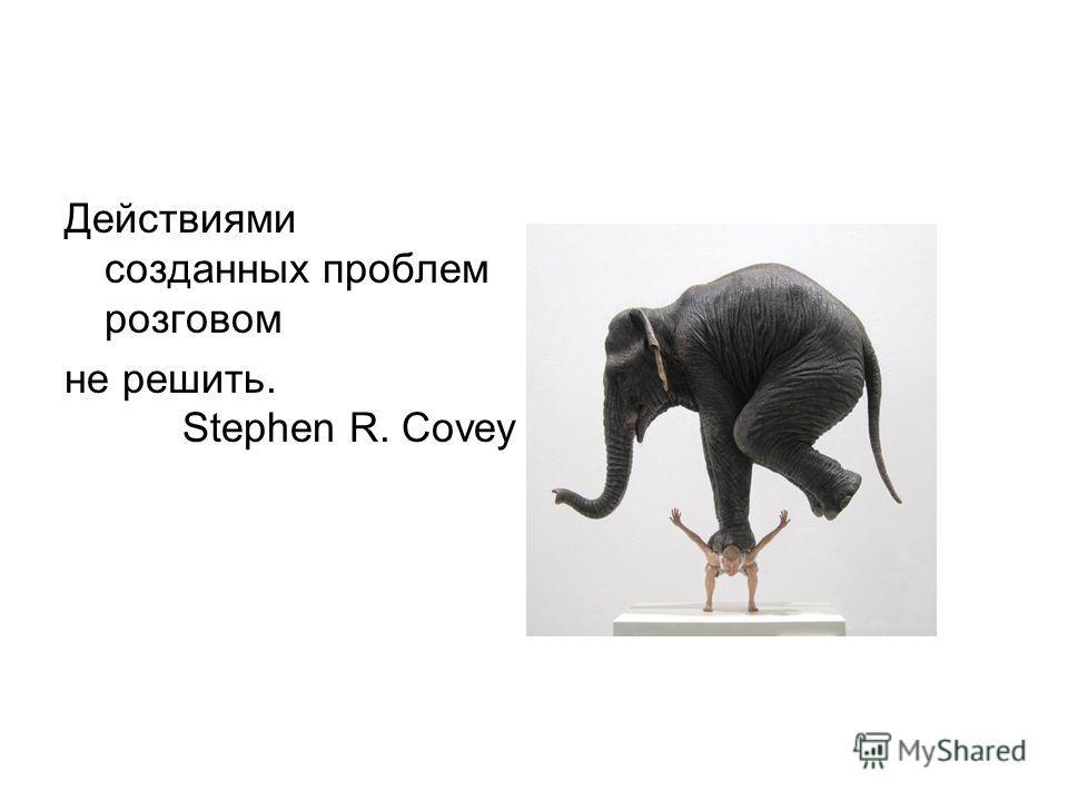 Действиями созданных проблем розговом не решить. Stephen R. Covey
