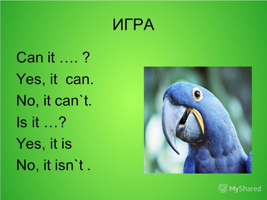 ИГРА Can it …. ? Yes, it can. No, it can`t. Is it …? Yes, it is No, it isn`t.