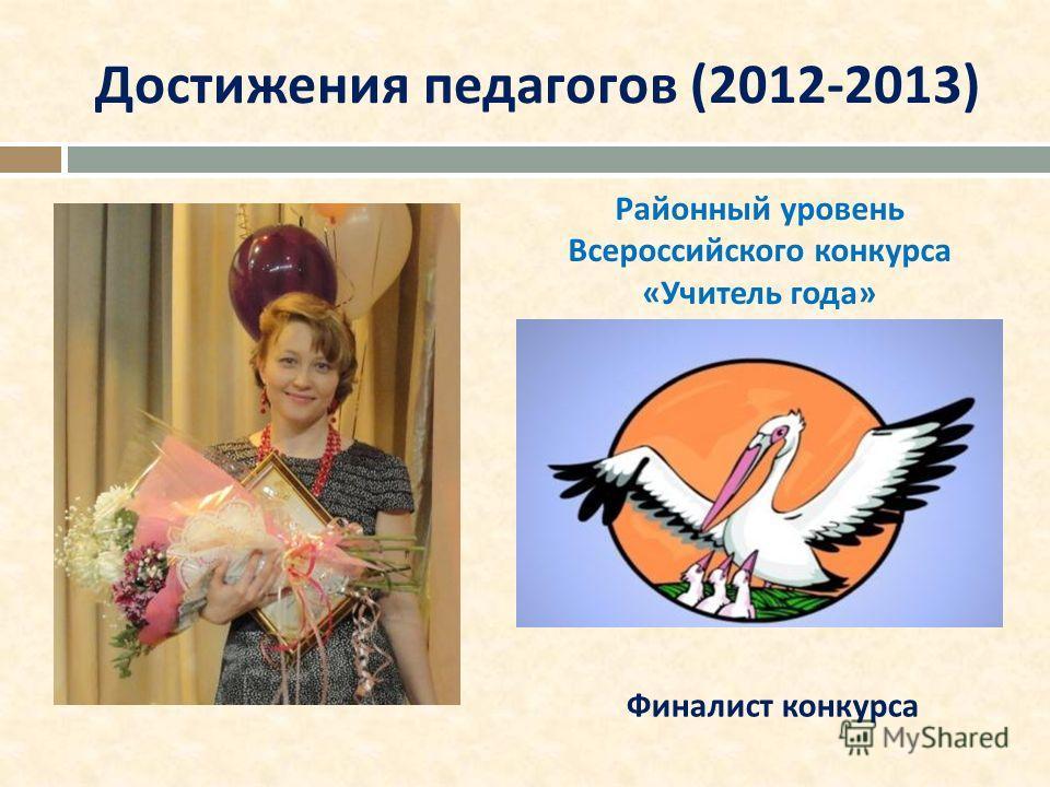 Достижения педагогов (2012-2013) Финалист конкурса Районный уровень Всероссийского конкурса «Учитель года»