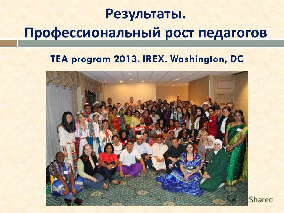 Результаты. Профессиональный рост педагогов TEA program 2013. IREX. Washington, DC