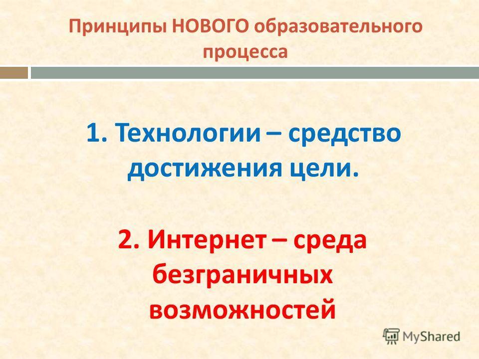Принципы НОВОГО образовательного процесса 1. Технологии – средство достижения цели. 2. Интернет – среда безграничных возможностей