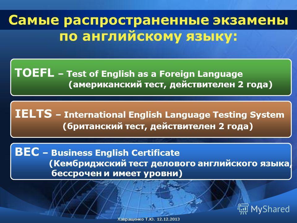 TOEFL – Test of English as a Foreign Language (американский тест, действителен 2 года) IELTS – International English Language Testing System (британский тест, действителен 2 года) BEC – Business English Certificate (Кембриджский тест делового английс
