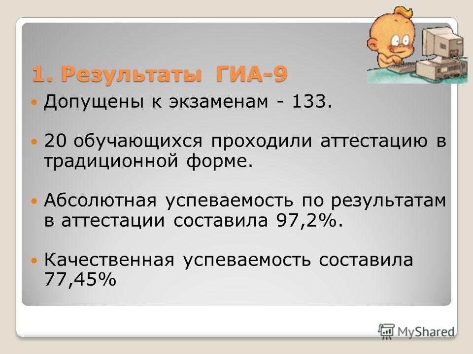 1. Результаты ГИА-9 Допущены к экзаменам - 133. 20 обучающихся проходили аттестацию в традиционной форме. Абсолютная успеваемость по результатам в аттестации составила 97,2%. Качественная успеваемость составила 77,45%