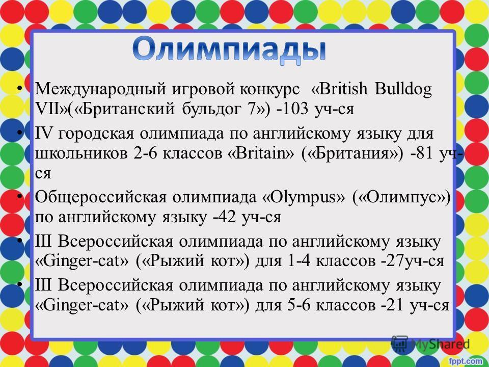 Международный игровой конкурс «British Bulldog VII»(«Британский бульдог 7») -103 уч-ся IV городская олимпиада по английскому языку для школьников 2-6 классов «Britain» («Британия») -81 уч- ся Общероссийская олимпиада «Olympus» («Олимпус») по английск