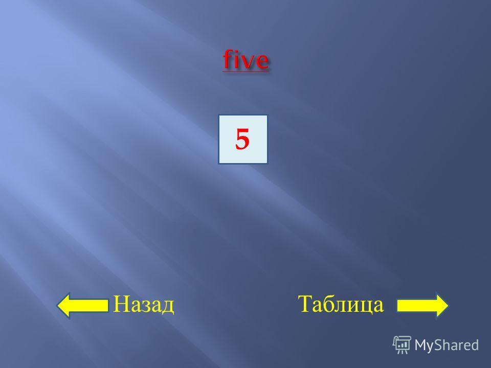 Назад Таблица 5
