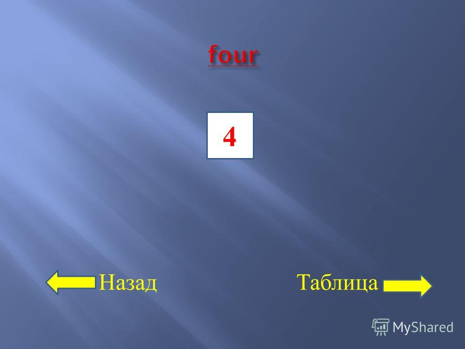 Назад Таблица 4