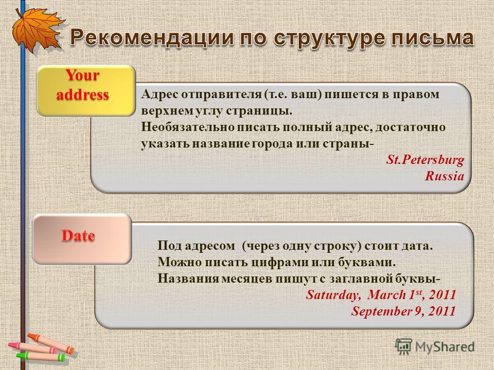 Адрес отправителя (т.е. ваш) пишется в правом верхнем углу страницы. Необязательно писать полный адрес, достаточно указать название города или страны- St.Petersburg Russia Your address Под адресом (через одну строку) стоит дата. Можно писать цифрами