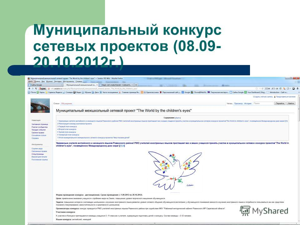 Муниципальный конкурс сетевых проектов (08.09- 20.10.2012 г.)