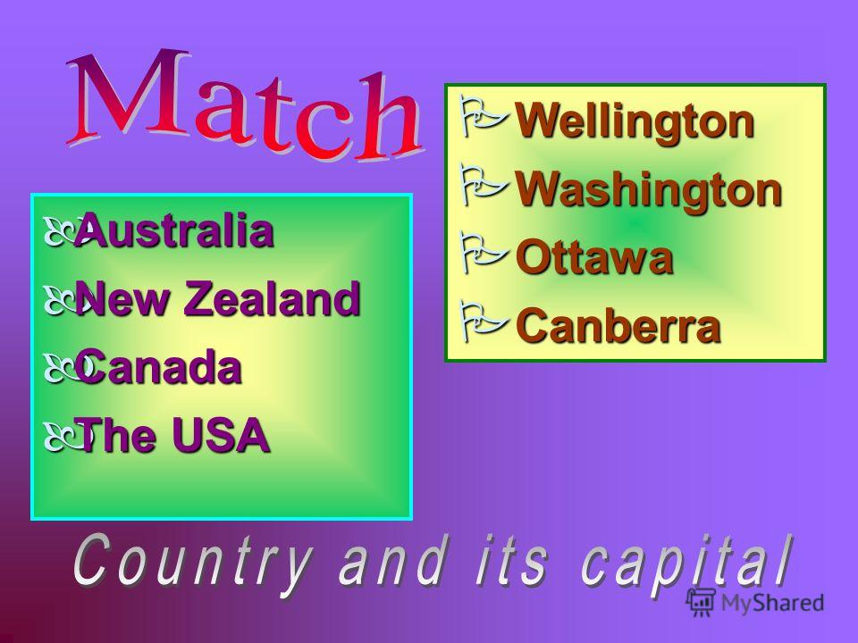 Australia New Zealand Canada The USA Wellington Washington Ottawa Canberra