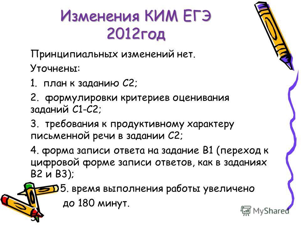 Изменения КИМ ЕГЭ 2012 год Принципиальных изменений нет. Уточнены: 1. план к заданию С2; 2. формулировки критериев оценивания заданий С1-С2; 3. требования к продуктивному характеру письменной речи в задании С2; 4. форма записи ответа на задание В1 (п