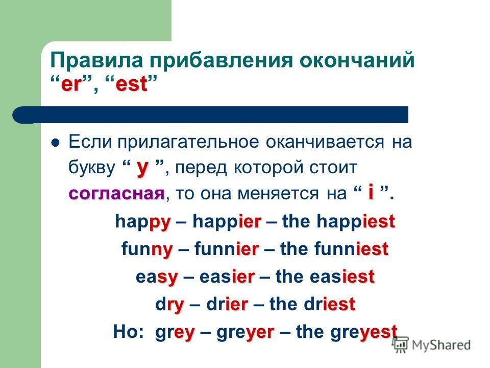erest Правила прибавления окончанийer, est y согласная i Если прилагательное оканчивается на букву y, перед которой стоит согласная, то она меняется на i. pyieriest happy – happier – the happiest nyieriest funny – funnier – the funniest syieriest eas