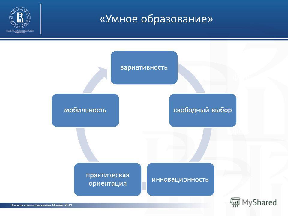 Высшая школа экономики, Москва, 2013 фото вариативностьсвободный выборинновационность практическая ориентация мобильность «Умное образование»