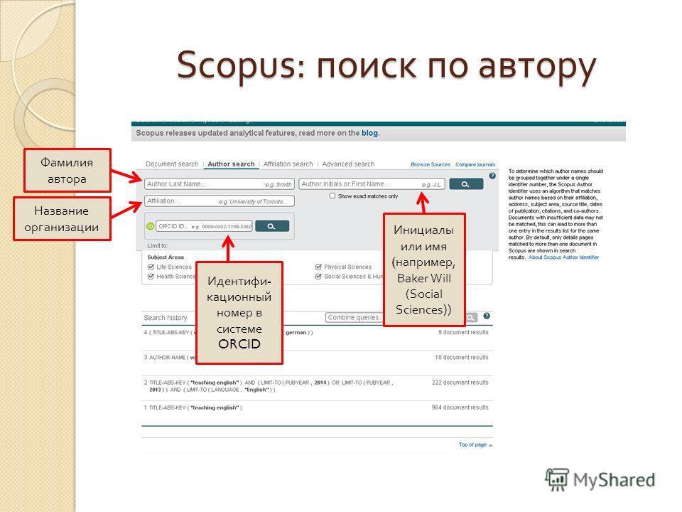 Scopus: поиск по автору Фамилия автора Инициалы или имя ( например, Baker Will (Social Sciences)) Название организации Идентифи - кационный номер в системе ORCID