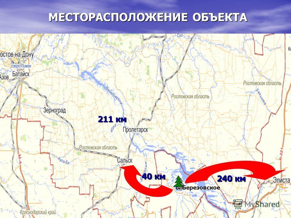 МЕСТОРАСПОЛОЖЕНИЕ ОБЪЕКТА 240 км 40 км 211 км с. Березовское