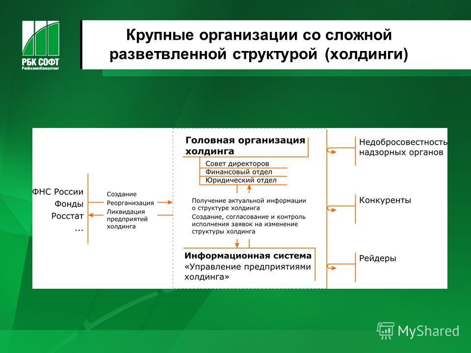 Крупные организации со сложной разветвленной структурой (холдинги)