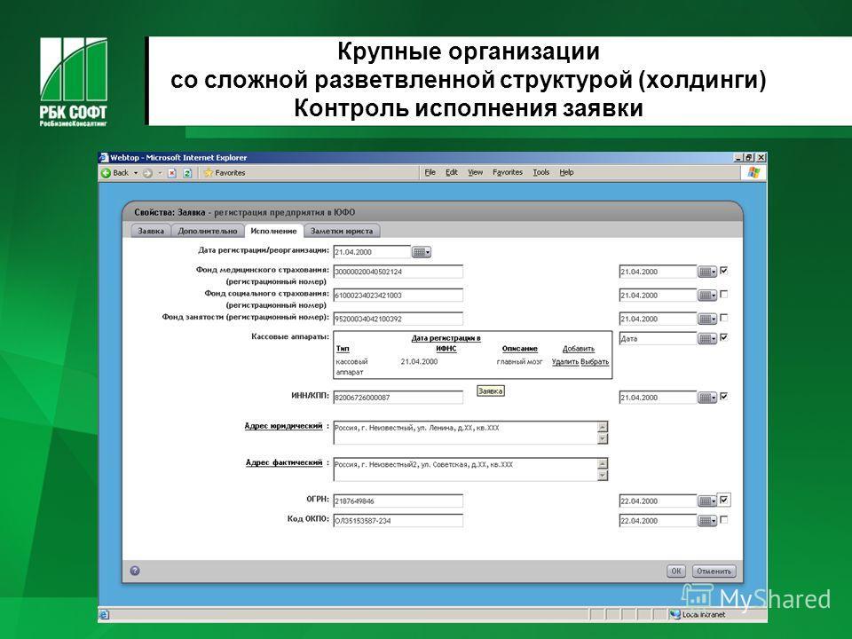 Крупные организации со сложной разветвленной структурой (холдинги) Контроль исполнения заявки