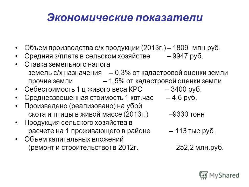 Экономические показатели Объем производства с/х продукции (2013 г.) – 1809 млн.руб. Средняя з/плата в сельском хозяйстве – 9947 руб. Ставка земельного налога земель с/х назначения – 0,3% от кадастровой оценки земли прочие земли – 1,5% от кадастровой