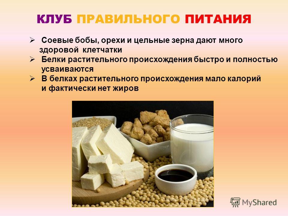 КЛУБ ПРАВИЛЬНОГО ПИТАНИЯ 250 г сои или 1000 г бобовых Или из растительных продуктов: