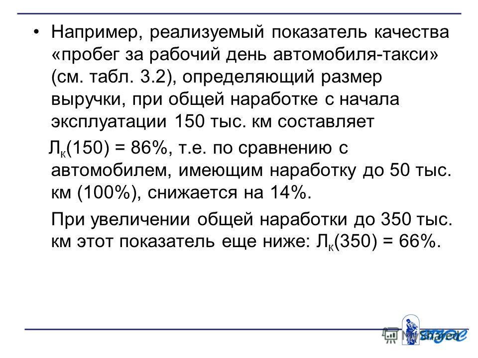 Например, реализуемый показатель качества «пробег за рабочий день автомобиля-такси» (см. табл. 3.2), определяющий размер выручки, при общей наработке с начала эксплуатации 150 тыс. км составляет Л к (150) = 86%, т.е. по сравнению с автомобилем, имею
