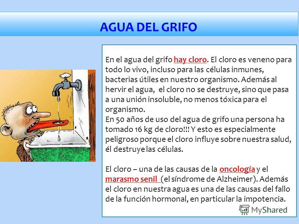 En el agua del grifo hay cloro. El cloro es veneno para todo lo vivo, incluso para las células inmunes, bacterias útiles en nuestro organismo. Además al hervir el agua, el cloro no se destruye, sino que pasa a una unión insoluble, no menos tóxica par