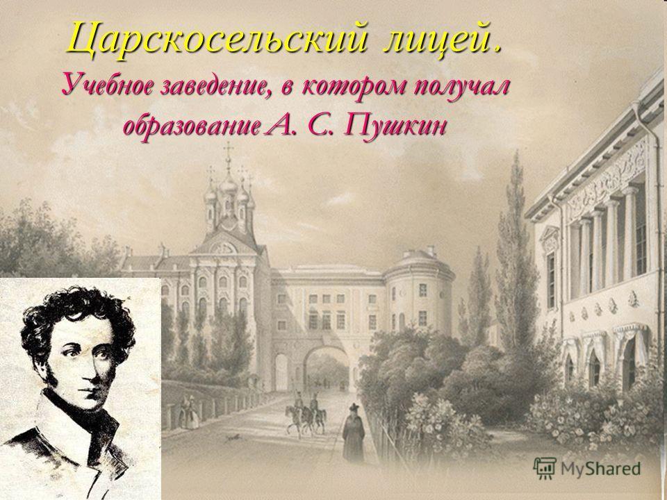Царскосельский лицей. Учебное заведение, в котором получал образование А. С. Пушкин