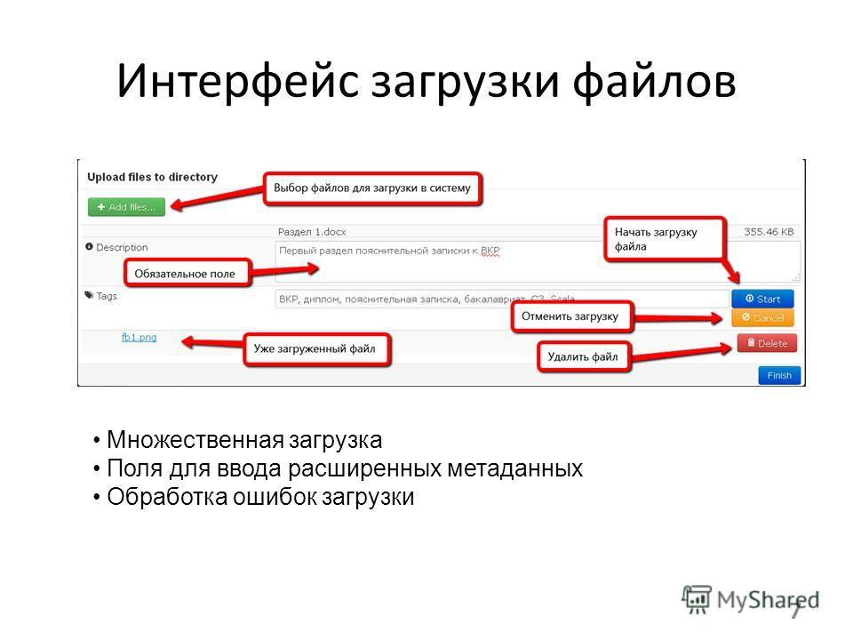 7 Интерфейс загрузки файлов Множественная загрузка Поля для ввода расширенных метаданных Обработка ошибок загрузки