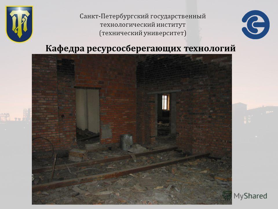 Санкт-Петербургский государственный технологический институт (технический университет) Кафедра ресурсосберегающих технологий