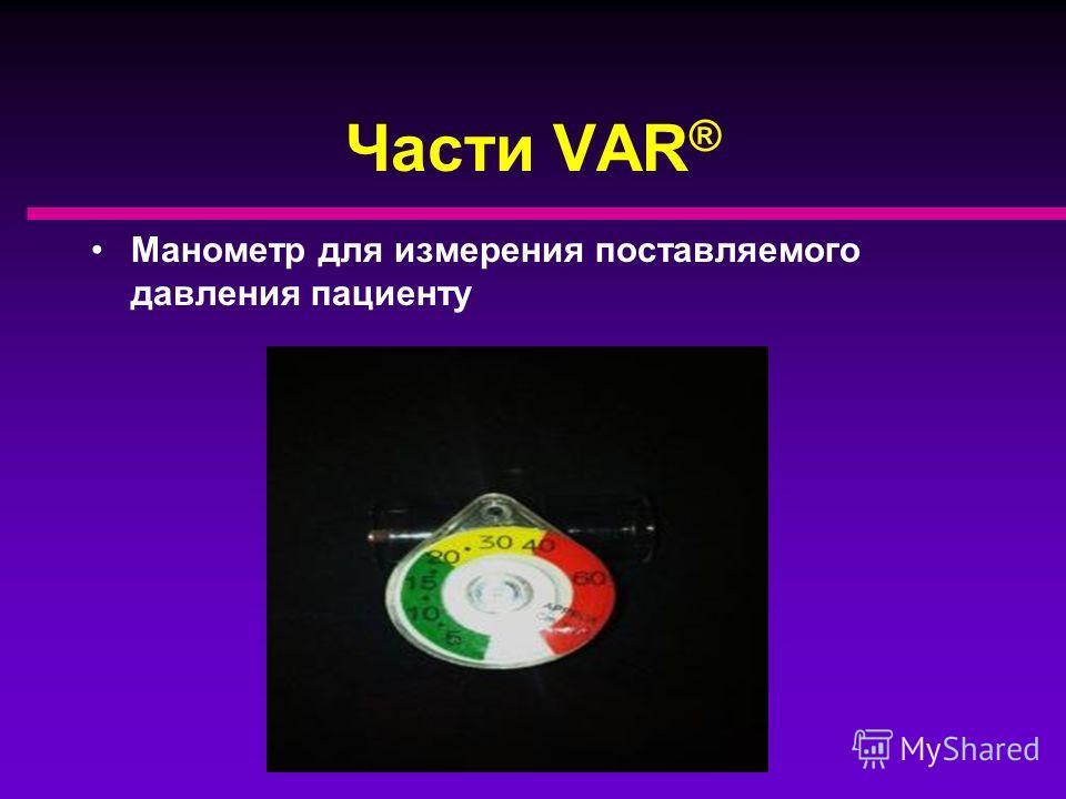 Части VAR ® Регулятор состоит из переключателя со шкалой (круглый) и шкалы давления (прямоугольная) ЧДД PIP
