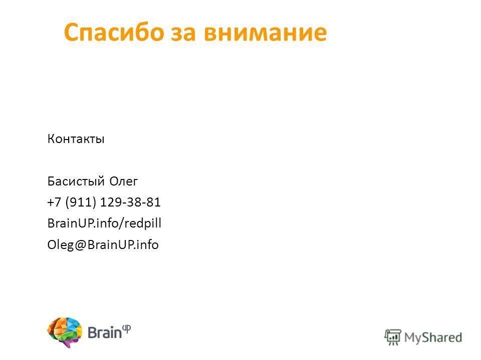 Спасибо за внимание Контакты Басистый Олег +7 (911) 129-38-81 BrainUP.info/redpill Oleg@BrainUP.info