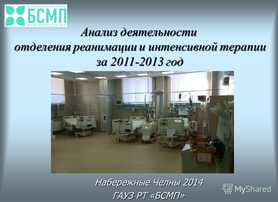 Набережные Челны 2014 ГАУЗ РТ «БСМП» Анализ деятельности отделения реанимации и интенсивной терапии за 2011-2013 год