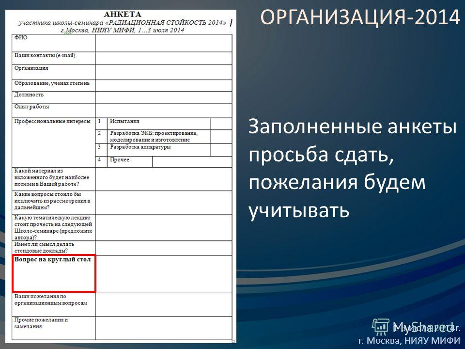 ОРГАНИЗАЦИЯ-2014 1-3 июля 2014 г. г. Москва, НИЯУ МИФИ Заполненные анкеты просьба сдать, пожелания будем учитывать