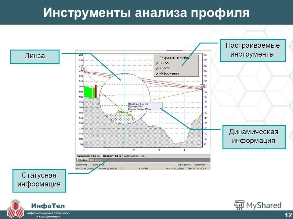 12 Инструменты анализа профиля Настраиваемые инструменты Линза Статусная информация Динамическая информация