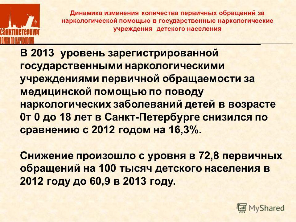 В 2013 уровень зарегистрированной государственными наркологическими учреждениями первичной обращаемости за медицинской помощью по поводу наркологических заболеваний детей в возрасте 0 т 0 до 18 лет в Санкт-Петербурге снизился по сравнению с 2012 годо