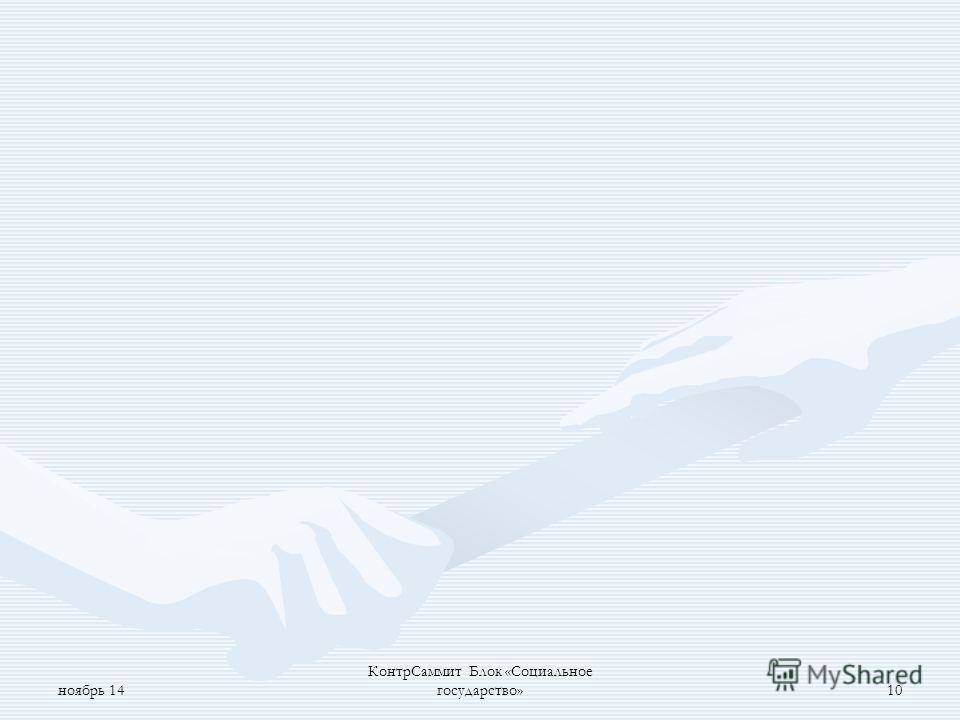 ноябрь 14 Контр Саммит Блок «Социальное государство»9 Прогнозы социально-экономического развития Санкт- Петербурга (к проектам бюджетов на трёхлетний период); Прогнозы социально-экономического развития Санкт- Петербурга (к проектам бюджетов на трёхле