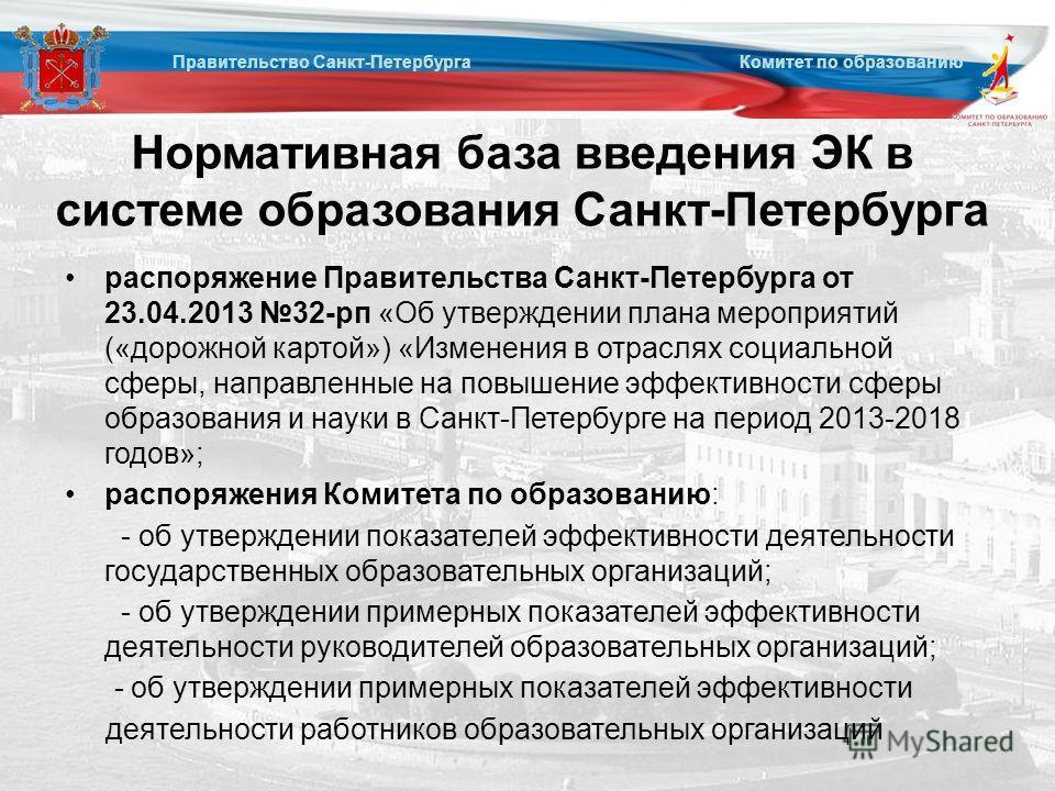 Нормативная база введения ЭК в системе образования Санкт-Петербурга распоряжение Правительства Санкт-Петербурга от 23.04.2013 32-рп «Об утверждении плана мероприятий («дорожной картой») «Изменения в отраслях социальной сферы, направленные на повышени