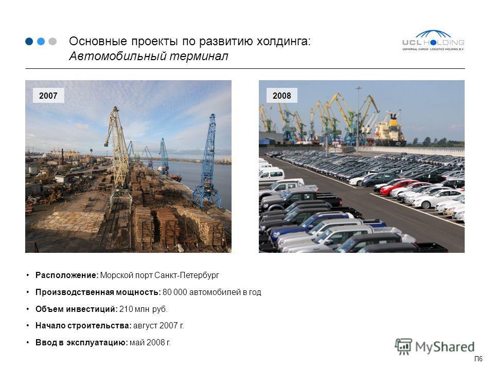 Основные проекты по развитию холдинга: Автомобильный терминал Расположение: Морской порт Санкт-Петербург Производственная мощность: 80 000 автомобилей в год Объем инвестиций: 210 млн руб. Начало строительства: август 2007 г. Ввод в эксплуатацию: май