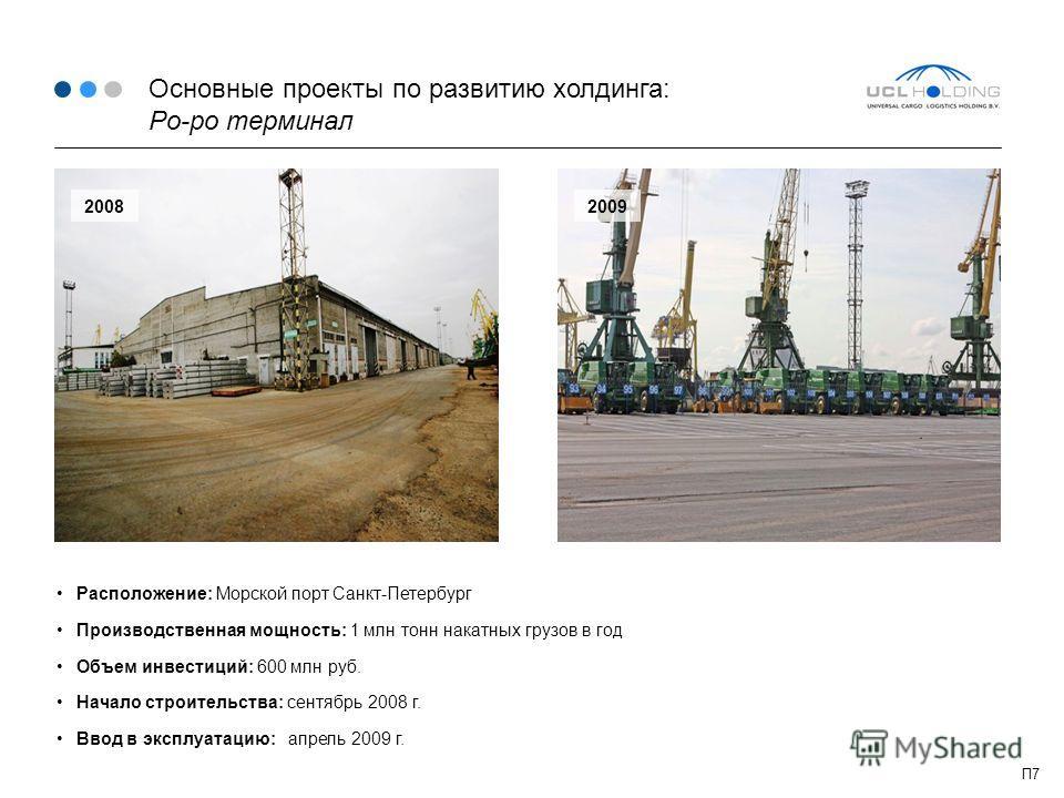 Основные проекты по развитию холдинга: Ро-ро терминал Расположение: Морской порт Санкт-Петербург Производственная мощность: 1 млн тонн накатных грузов в год Объем инвестиций: 600 млн руб. Начало строительства: сентябрь 2008 г. Ввод в эксплуатацию: ап