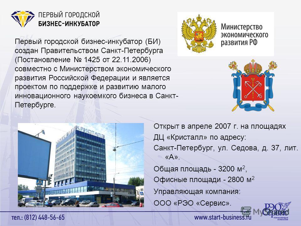 Первый городской бизнес-инкубатор (БИ) создан Правительством Санкт-Петербурга (Постановление 1425 от 22.11.2006) совместно с Министерством экономического развития Российской Федерации и является проектом по поддержке и развитию малого инновационного