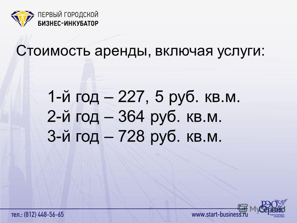 Стоимость аренды, включая услуги: 1-й год – 227, 5 руб. кв.м. 2-й год – 364 руб. кв.м. 3-й год – 728 руб. кв.м.