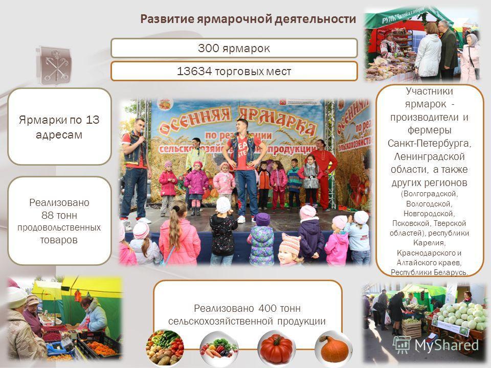 Развитие ярмарочной деятельности 300 ярмарок 13634 торговых мест Ярмарки по 13 адресам Реализовано 400 тонн сельскохозяйственной продукции Реализовано 88 тонн продовольственных товаров Участники ярмарок - производители и фермеры Санкт-Петербурга, Лен